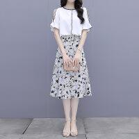 千喜步步高2021夏季小香风短袖雪纺衫+半身裙时尚两件套套装