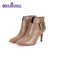 【依思q冬上新 限时特惠】依思Q新款秋冬季时尚女靴尖头细跟时装靴17183249