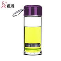 希诺 单层玻璃杯 加厚带提手办公杯子 带盖便携透明耐热水杯