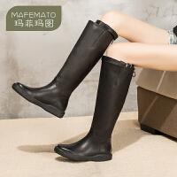 【下单立享7折】玛菲玛图ann系带马丁靴中筒靴女潮长筒靴英伦风骑士靴高筒靴2019新款长靴2215-22DL