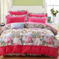 冬季珊瑚绒四件套加厚保暖法莱绒韩版1.8m双人法兰绒床单被套 玫红色 梦幻花蕊