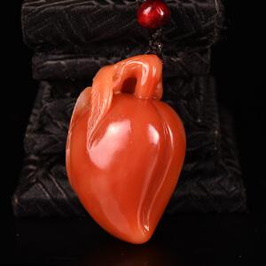 《寿桃手玩件》蜡烛红寿山石取巧全手工精雕寓意吉祥
