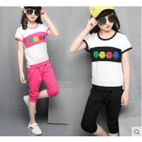 儿童运动套装休闲童装女童韩版时尚户外新款10短袖9-11周岁百搭11大童13女孩15