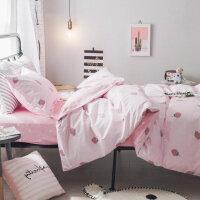纯棉宿舍床单人床上用品三件套1.2米床 大学生寝室儿童被套1.5m女 高密棉 草莓