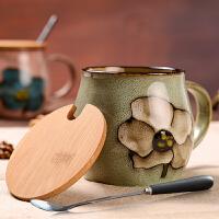 复古陶瓷杯子杯水杯茶杯创意马克杯带盖勺大容量麦片杯咖啡杯
