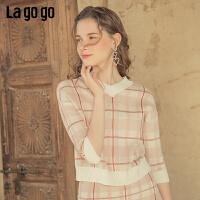 Lagogo2019秋季新款V领格子短款针织衫女套头修身开衫ICMM307D22