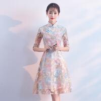 改良旗袍连衣裙2018新款夏版少女小香风小礼服演出走秀短款旗袍裙