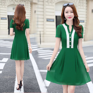 2017夏季新款短袖韩版中长款雪纺连衣裙时尚修身V领拼接气质A字裙