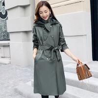 2018春季新款韩版风衣女中长款显瘦收腰宽松学生过膝长袖连帽外套