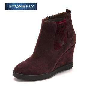 【3折到手价140.7元】STONEFLY/斯通富来冬季绒面牛皮内增高侧拉链坡跟时尚短靴女靴SD44113555