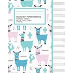预订 Manu* Paper Notebook: Cute Llama Cactus Cover, 12 Staff