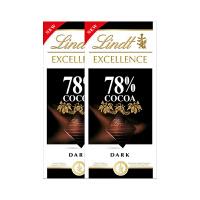 Lindt瑞士莲进口特醇排装78%可可黑巧克力100g*2块装