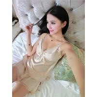 胖mm大码睡衣吊带两件套夏天冰丝清新韩版极度诱惑家居服蕾丝
