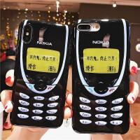 复古诺基亚苹果XsMax手机壳XR个性创意文字iPhone7/8plus全包硅胶软壳6s男女款潮