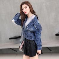 新女士外套2018春秋新款韩版潮女装字母贴布个性拉丝破洞牛仔夹克短外套 蓝色
