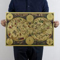 牛皮纸海报怀旧复古 1680年古老星座地图 黄道12宫装饰画51x35cm