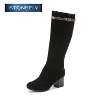 STONEFLY/斯通富来冬季磨砂牛皮圆头方跟高跟时尚侧拉链长靴女SD44111217