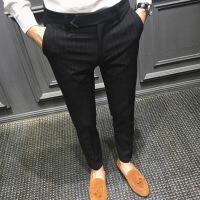 男裤秋季新款条纹休闲西裤男修身韩版青年竖条修身小脚裤男士长裤潮流