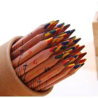 马可6404 原木三角杆四色混芯彩色铅笔 儿童绘画涂鸦笔彩笔 5支装