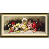 丝带绣 家居装饰 挂画 盛开的玫瑰印花十字绣客厅大幅c-0105