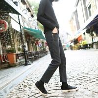 刺绣九分直筒牛仔裤女秋冬高腰微弹加绒加厚显瘦烟管裤
