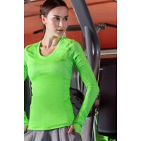 时尚百搭 弹性紧身上衣运动健身衣女跑步长袖瑜伽服速干训练服上装T恤        支持礼品卡