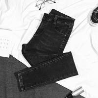 2018春季新款韩版修身显瘦弹力高腰牛仔裤女烟灰色小脚裤紧身长裤