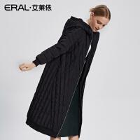 ERAL/艾莱依2017冬简约连帽羽绒服女长款拼接保暖大衣16255-FDAA