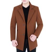 毛呢大衣男修身秋冬新款男装毛呢外套青中年男夹棉呢上衣71013