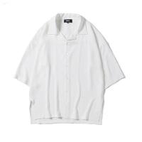衬衫男学生@港仔文艺男 港风宽松五分袖学生白衬衫新款男士长袖潮流衬衣