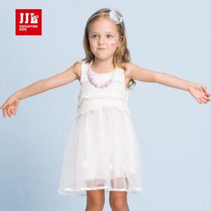 季季乐童装女童休闲舒适白纱夏季连衣裙中小童薄款GXQ63115