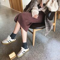 高腰显瘦黑色开叉针织半身裙女冬季韩版中长款包臀裙一步裙长裙子 深