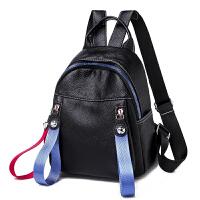 女士小清新软皮旅行背包书包2019新款韩版潮流休闲学院风彩带双肩包