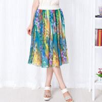 特尚莱菲 夏季新款半身裙淑女印花田园风女裙押褶雪纺长裙WWH3021