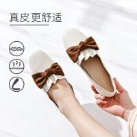 19珂卡芙秋新款【100%真皮】甜美蝴蝶结奶奶鞋舒适耐磨女单鞋