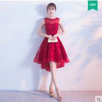 红色敬酒服新娘短款 新款结婚晚礼服女前短后长公主蓬蓬裙