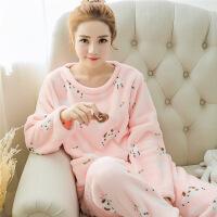 秋冬季韩版珊瑚绒睡衣女式可爱卡通休闲套头法兰绒长袖套装家居服45450L65371