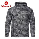 Marmot/土拨鼠新款春季户外男士舒适透气迷彩神衣防风防泼水连帽皮肤衣