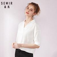 森马短袖白衬衫女夏季2019新款翻领V领衬衣简约纯色学生清新宽松