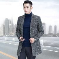秋冬新款男士毛呢大衣韩版修身中长款羊毛大衣英伦呢子风衣男外套2209 灰色