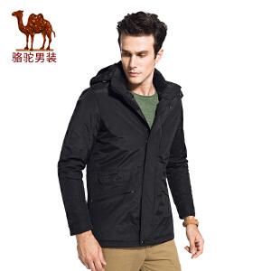 骆驼男装 2017年冬季新款纯色可脱卸帽无弹休闲简约男青年棉服