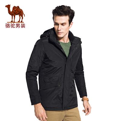 骆驼男装 冬季新款纯色可脱卸帽无弹休闲简约男青年棉服
