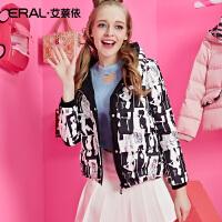 ERAL/艾莱依冬装修身时尚芭比韩版女士羽绒服加厚短款12048-EDAD