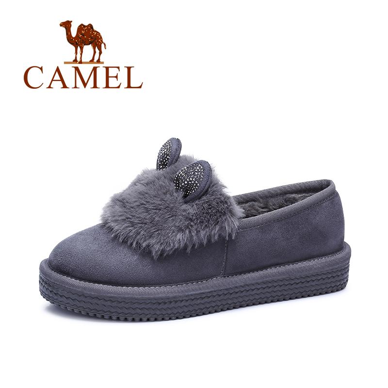 camel骆驼女鞋 雪地鞋卡通兔毛镶钻耳朵加绒女棉鞋休闲鞋