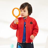 【秒杀价:175元】马拉丁童装男小童夹克外套春装新款休闲图案儿童红色短外套