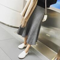 胖mm冬装新款韩版百褶裙中长款半身裙女大码200斤针织毛线半身裙