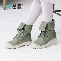 茵曼女鞋2016冬季新品时尚军靴风系带休闲帆布个性女靴