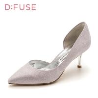 迪芙斯(D:FUSE)商场同款尖头侧空细跟高跟鞋单鞋女 DF81114021