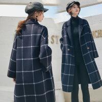 新女士外套2018新款女装双面妮呢羊绒大衣长款外套格子秋冬网红抖音