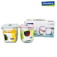 GLASS LOCK 三光云彩 韩国进口玻璃乐扣保鲜盒可微波炉创意饭盒便当盒礼品装GL 44两件组SG361-45